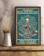 Retro Navy Mostly Peace Skeleton Yoga 16x24 Poster lifestyle-poster-3