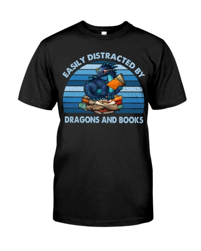 Easily Distracted By Dragons And Books Retro