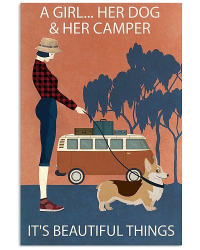 Vintage Girl Her Dog Her Camper Corgi