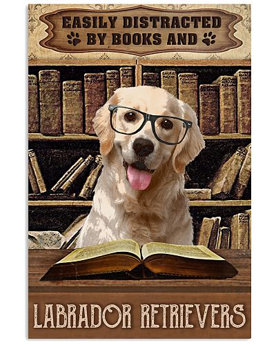 Vintage Easily Distracted Books And  Labrador