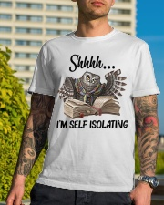 Reading Owl Shhhh I'm Self Isolating - On Sale Classic T-Shirt lifestyle-mens-crewneck-front-8