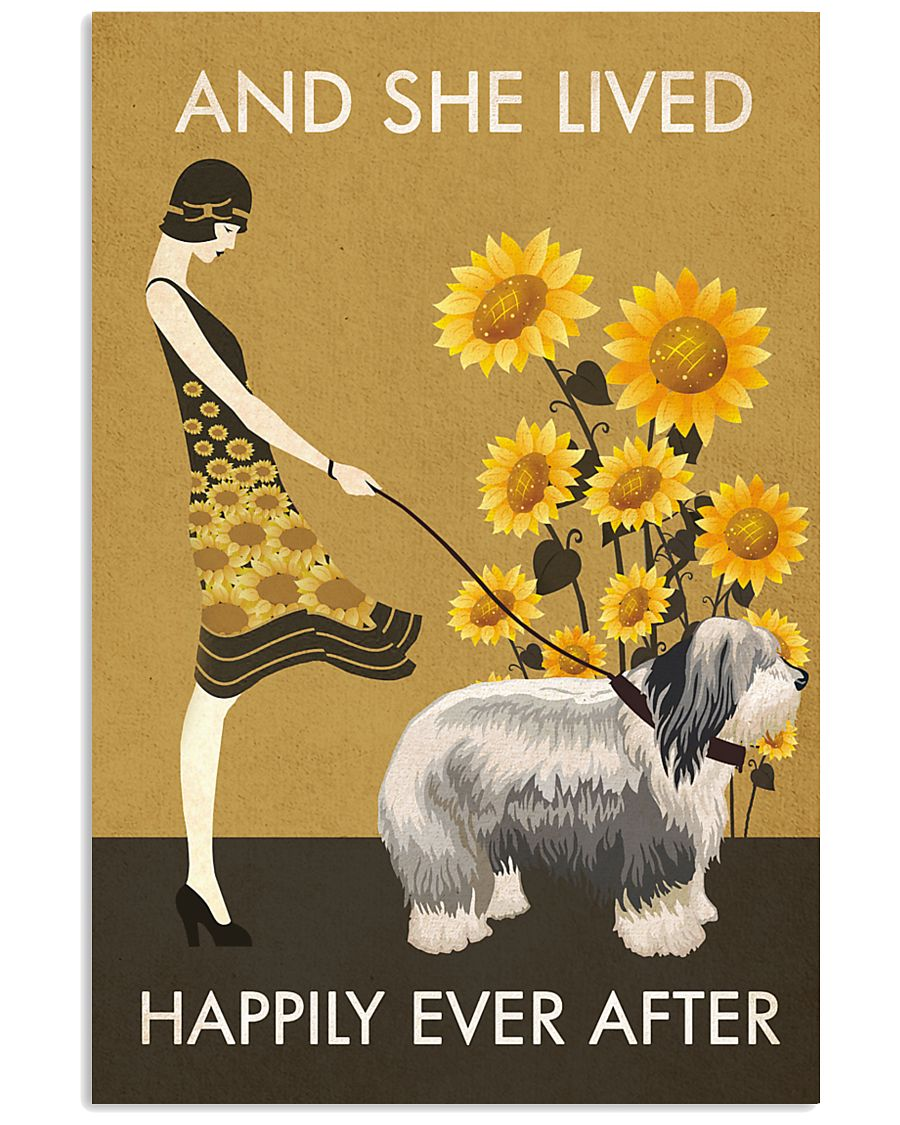 Sunflower Vintage Happily Old English Sheepdog 11x17 Poster