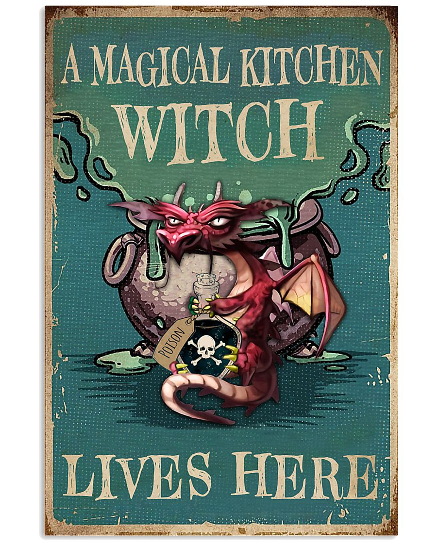Retro Teal Magical Kitchen Witch Dragon 11x17 Poster