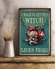 Retro Teal Magical Kitchen Witch Dragon 11x17 Poster lifestyle-poster-3