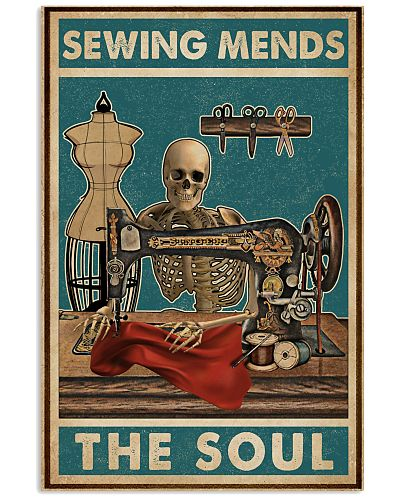 Retro Teal Sewing Mends The Soul Skeleton
