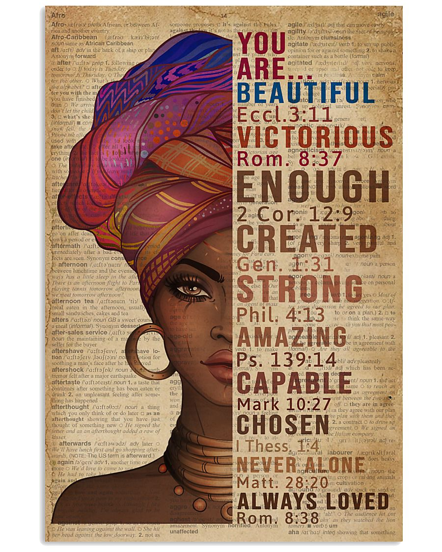 You Are Beautiful Black Girl Dictionary 11x17 Poster