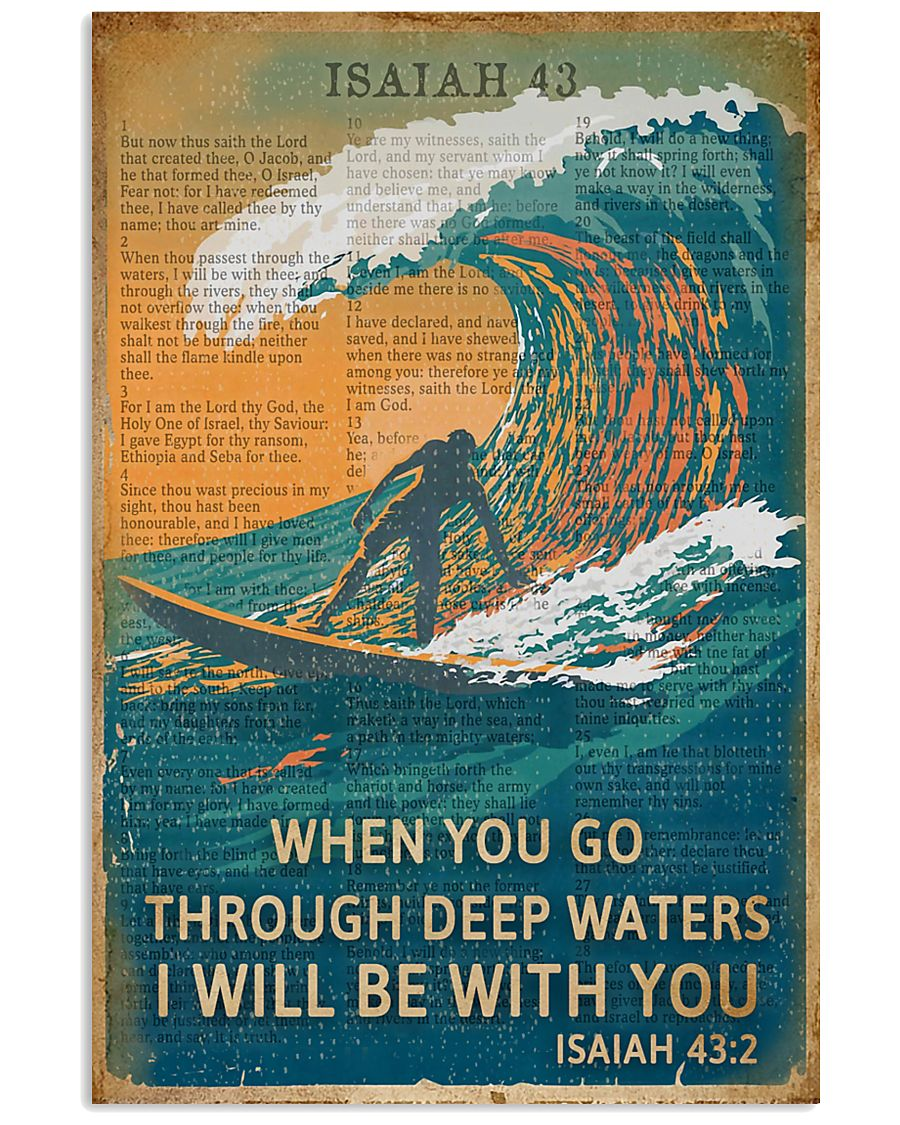 Vintage Bible Go Through Deep Water Surfing 11x17 Poster