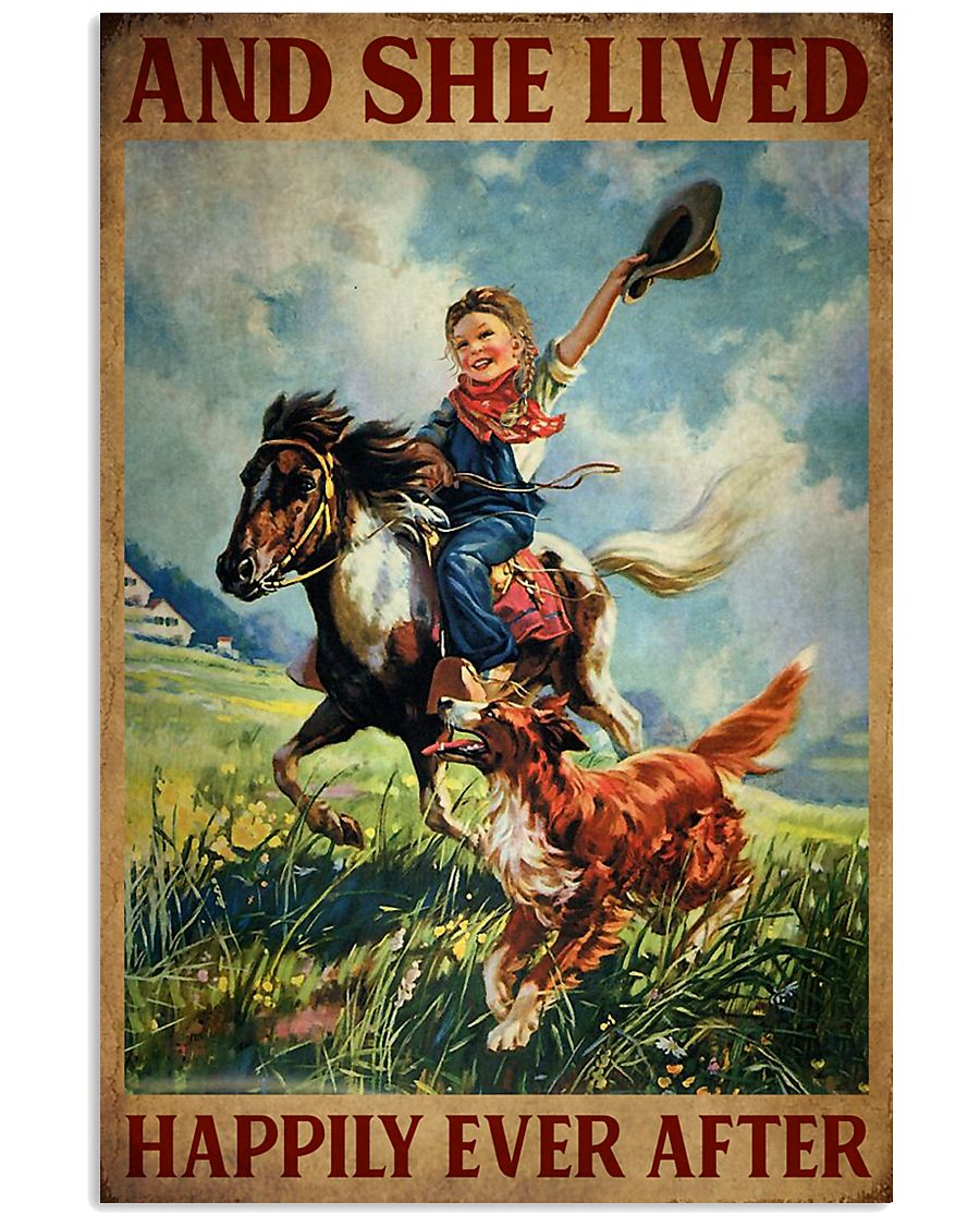 Retro Horse Riding Girl With Dogs Lived Happily 11x17 Poster