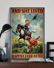 Retro Horse Riding Girl With Dogs Lived Happily 11x17 Poster lifestyle-poster-2
