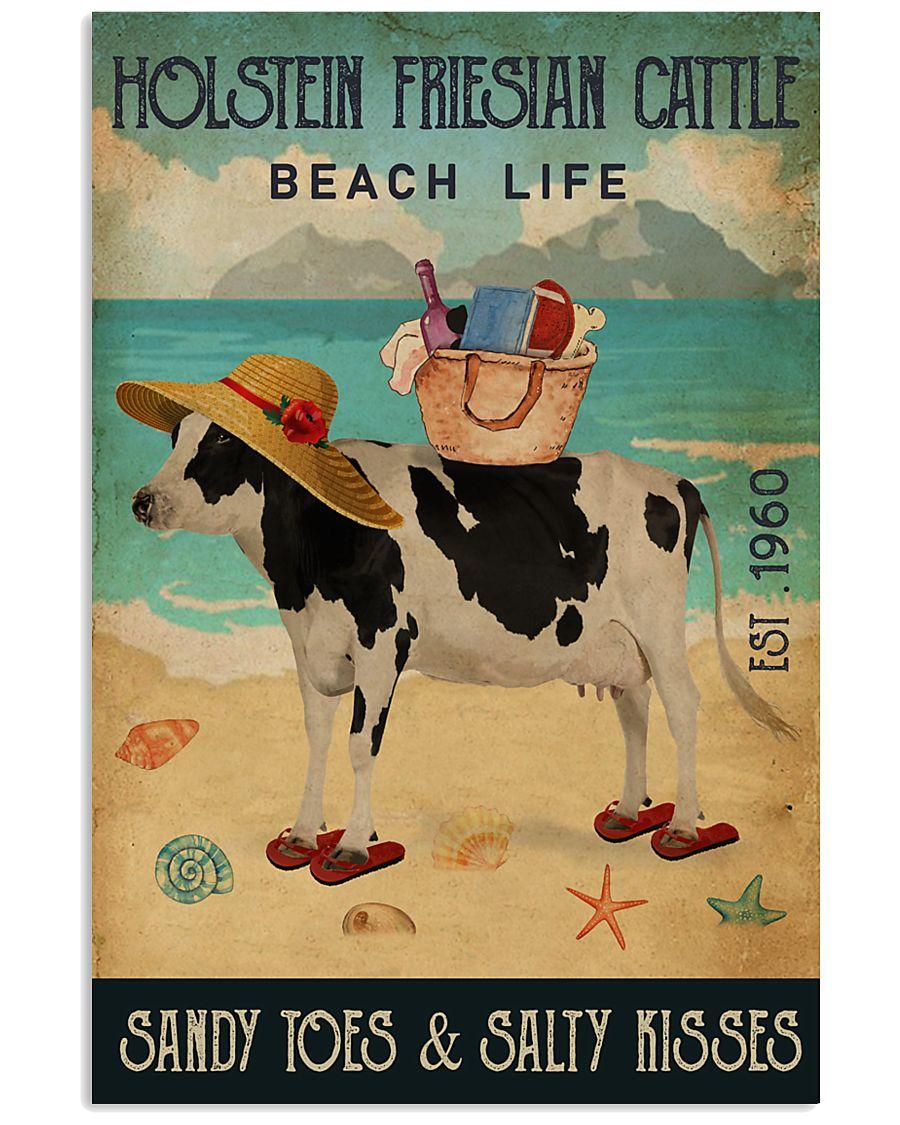 Beach Life Sandy Toes Holstein Friesian Cattle 11x17 Poster