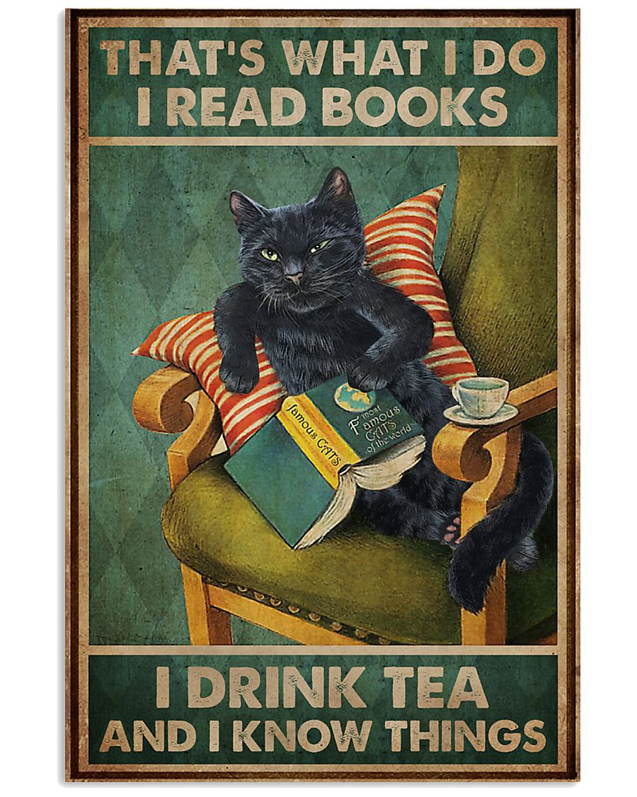 Read Books And Drink Tea Black Cat 11x17 Poster