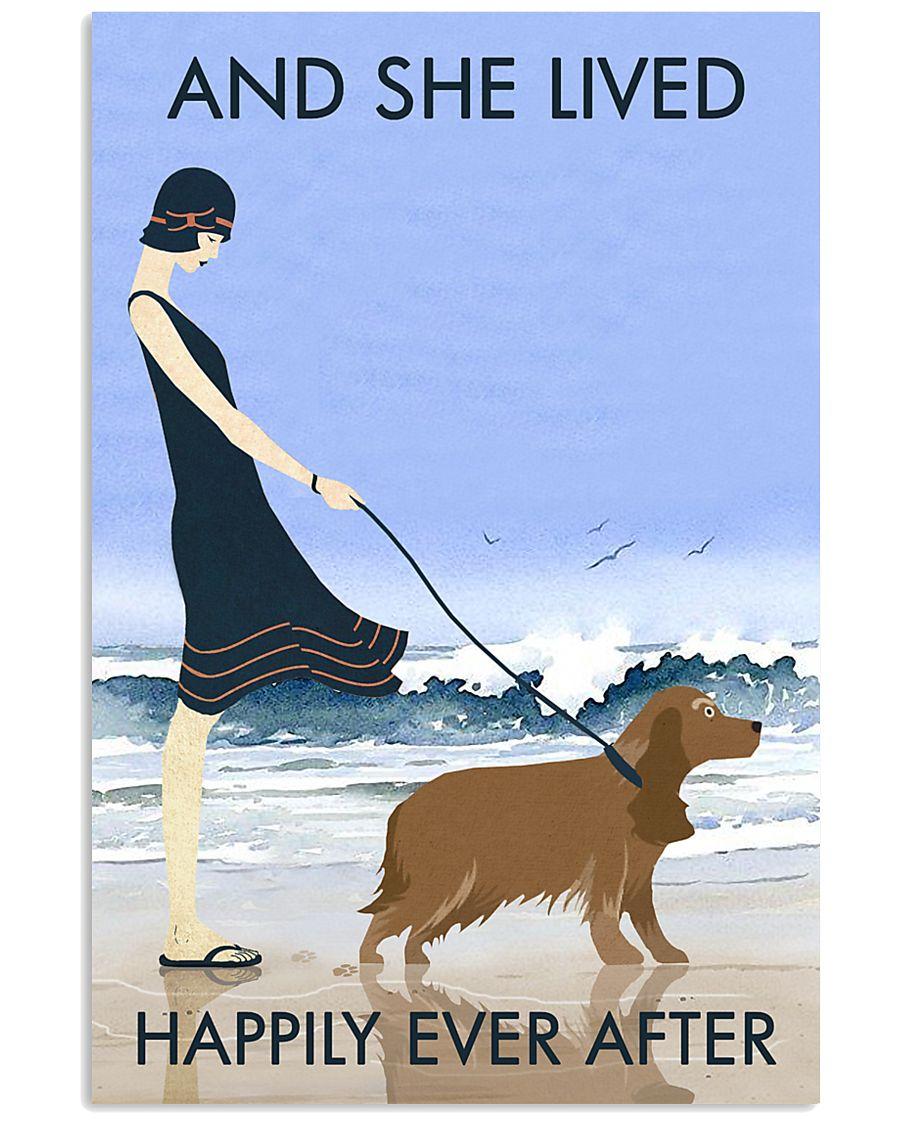 Beach And Dog Cocker Spaniel 11x17 Poster