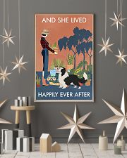 Vintage Lived Happily Gardening Border Collie 16x24 Poster lifestyle-holiday-poster-1