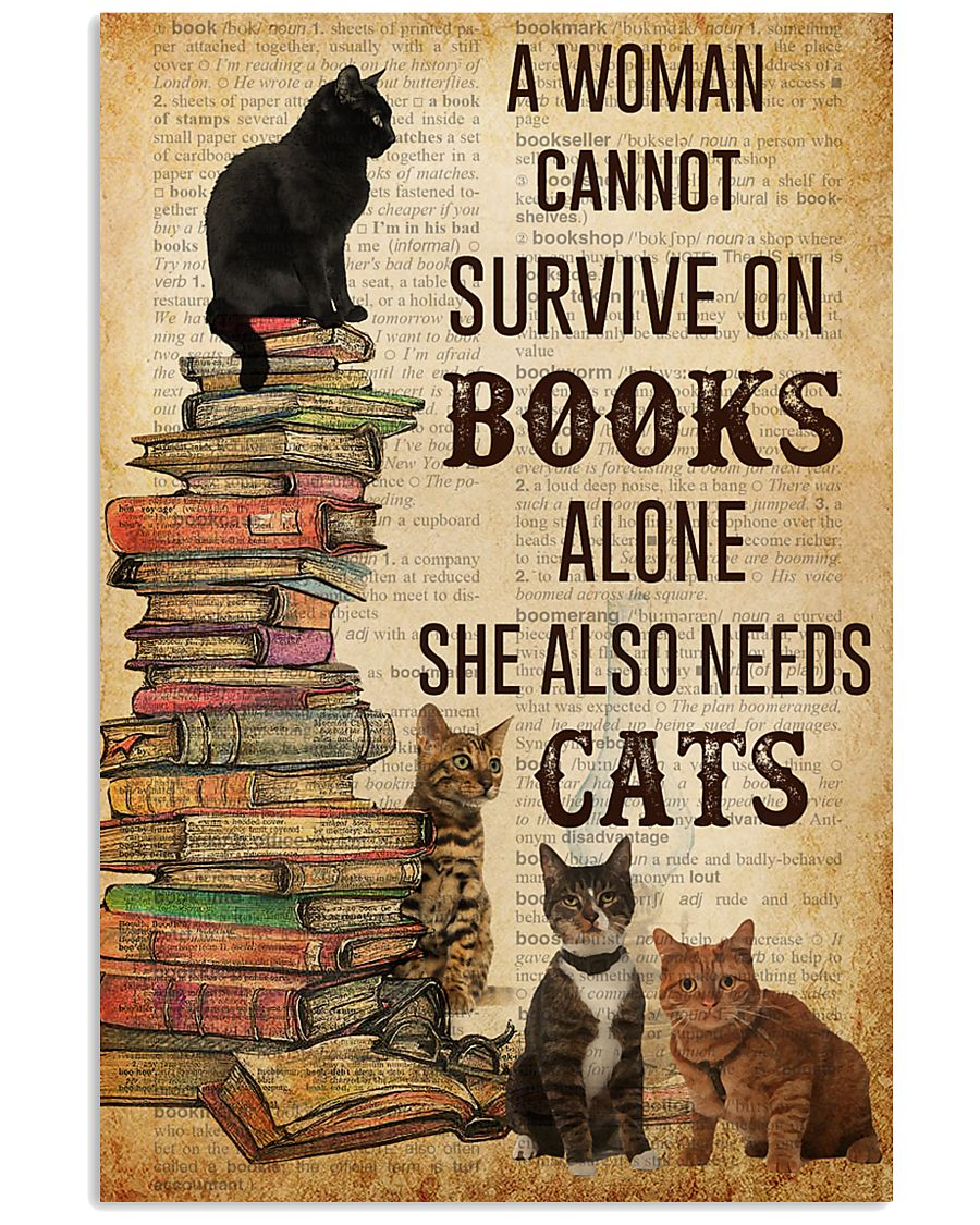 A Woman Survive On Books And Cats 11x17 Poster