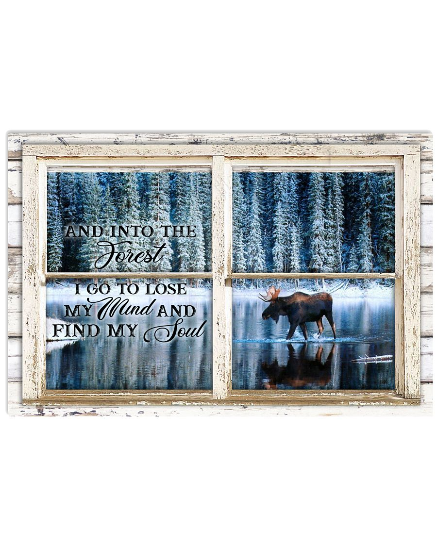 Window And Into The Forest Moose 24x16 Poster
