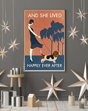 Vintage Girl She Lived Happily Basset Hound 11x17 Poster lifestyle-holiday-poster-1