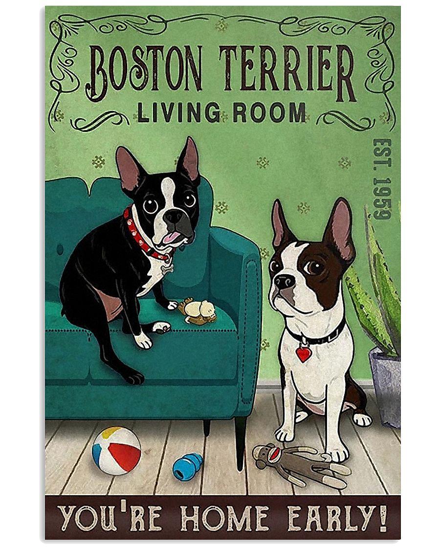Living Room Boston Terrier 11x17 Poster