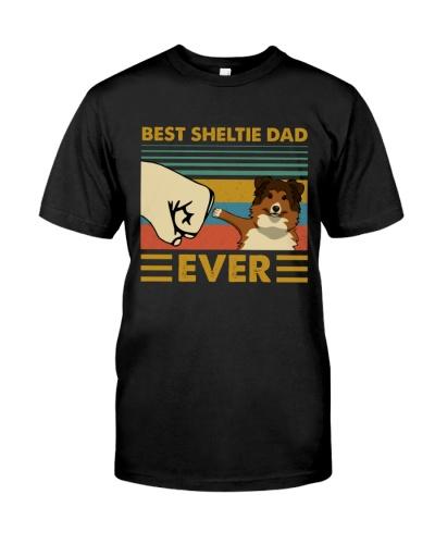 Retro Blue Best Shetland Sheepdog Dad Ever
