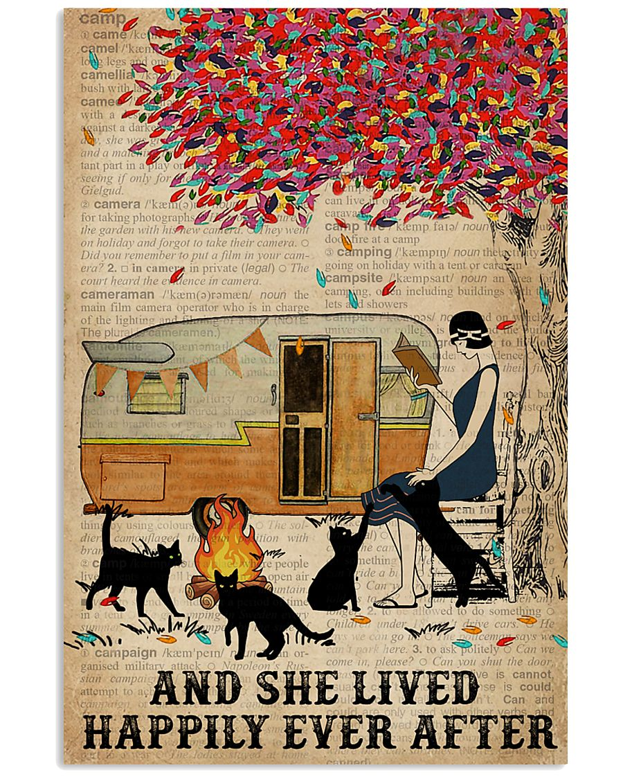 Camping Girl Lived Happily Book Cat 11x17 Poster