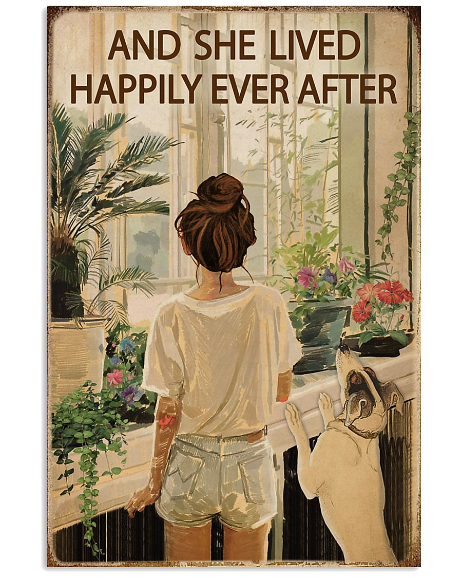 Vintage Lived Happily Garden Dogs Girl 16x24 Poster