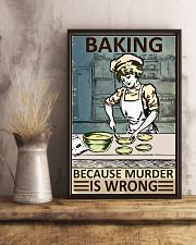 Retro Baker Baking Because Murder Is Wrong 16x24 Poster lifestyle-poster-3