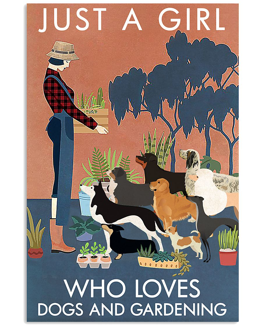 Vintage Just A Girl Loves Gardening And Dogs 11x17 Poster