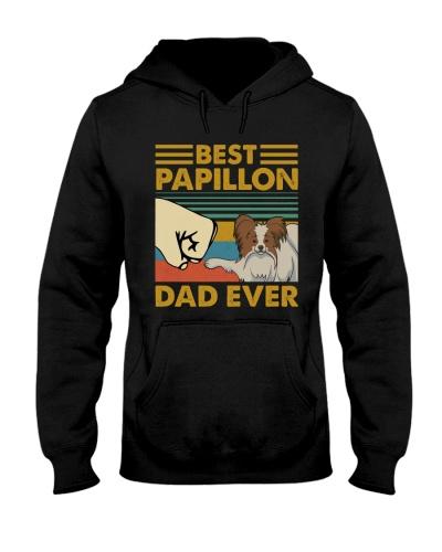 Retro Blue Best Papillon Dad Ever