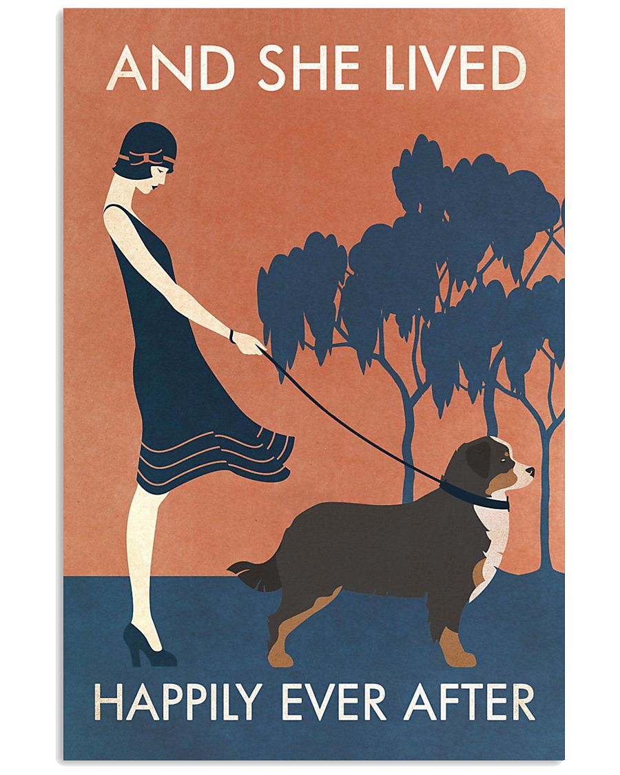 Vintage Girl She Lived Happily Bernese Mountain 11x17 Poster