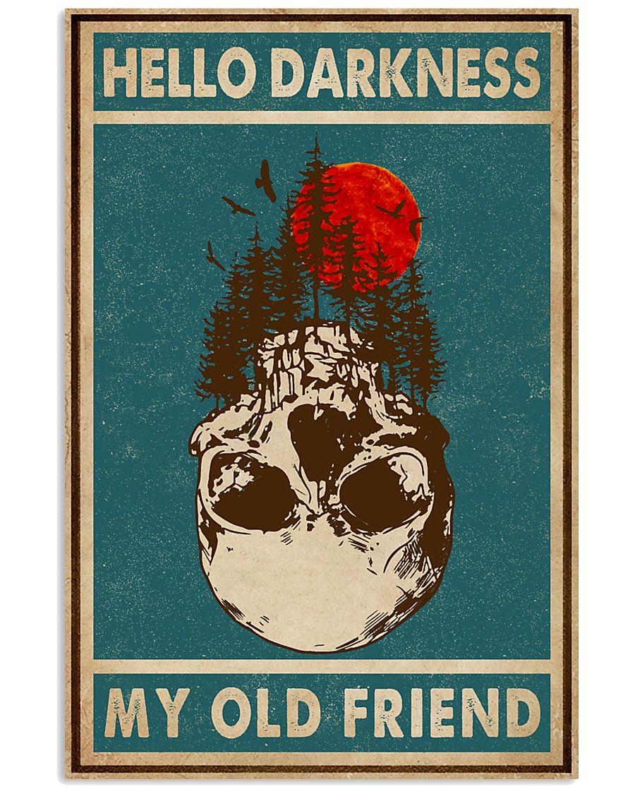 Retro Green Skull Hello Darkness 11x17 Poster