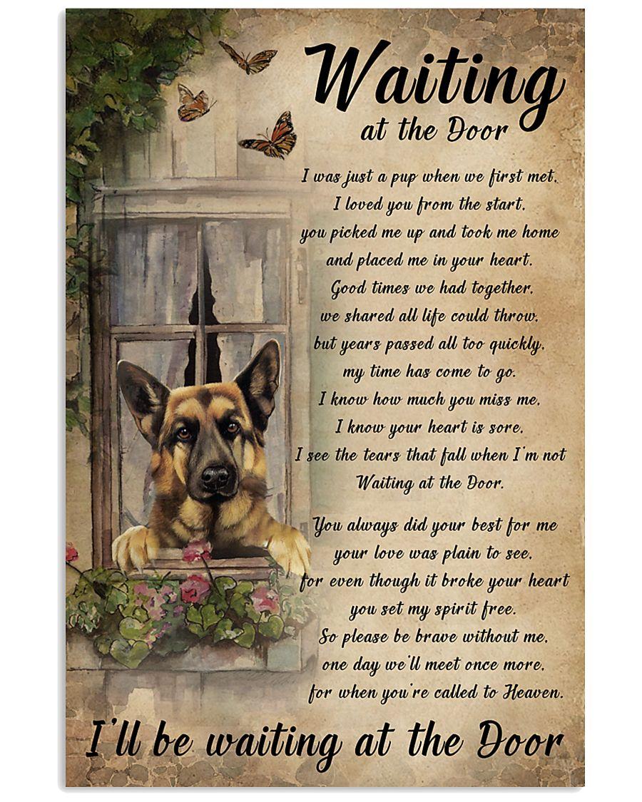Vintage Waiting At The Door German Shepherd 11x17 Poster