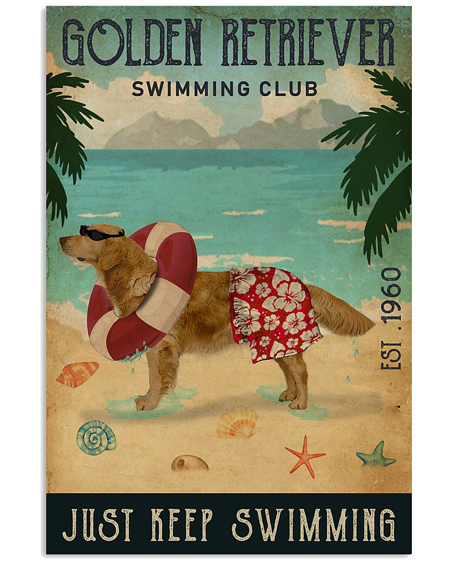 Vintage Swimming Club Golden Retriever 11x17 Poster