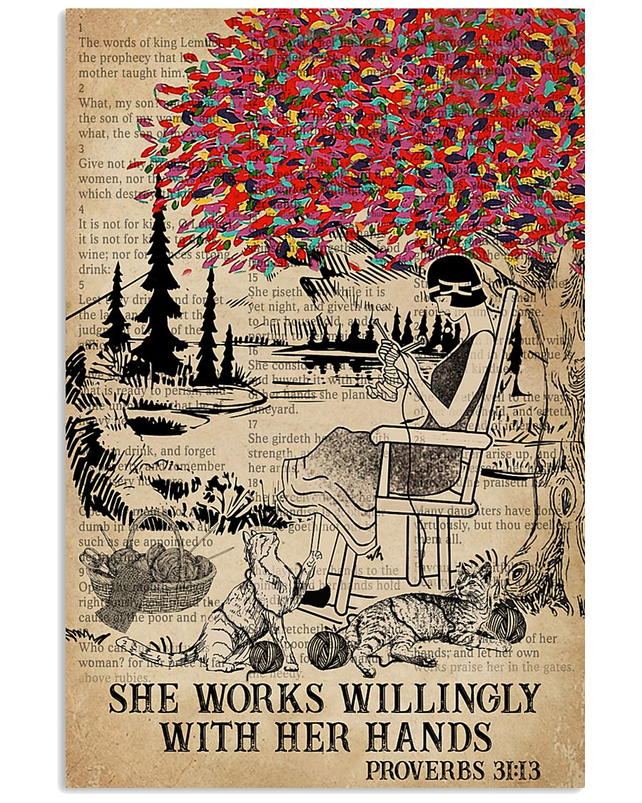 Catchphrase Works Willingly Hand Cat Knitting Girl 11x17 Poster