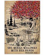 Catchphrase Works Willingly Hand Cat Knitting Girl 11x17 Poster front