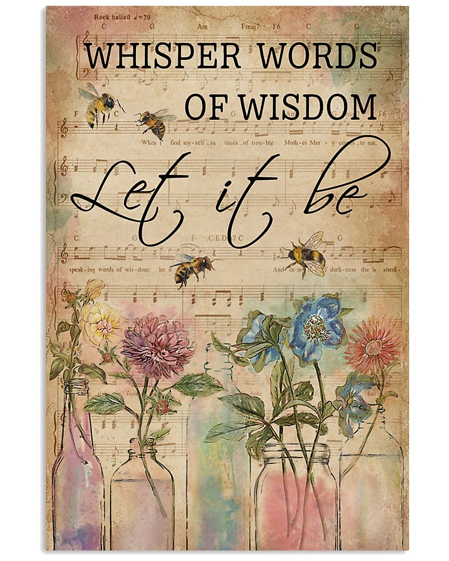 Watercolor Whisper Words Of Wisdom Music Sheet Bee 11x17 Poster