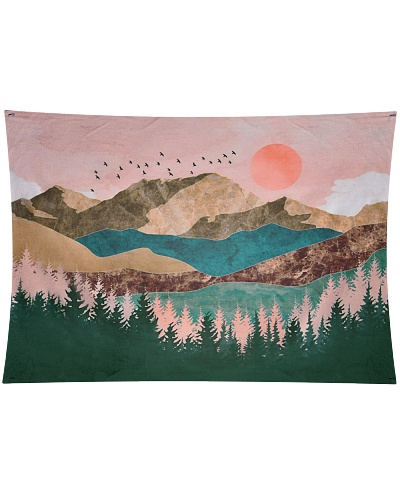 Pink Sky Mountain Home Decoration
