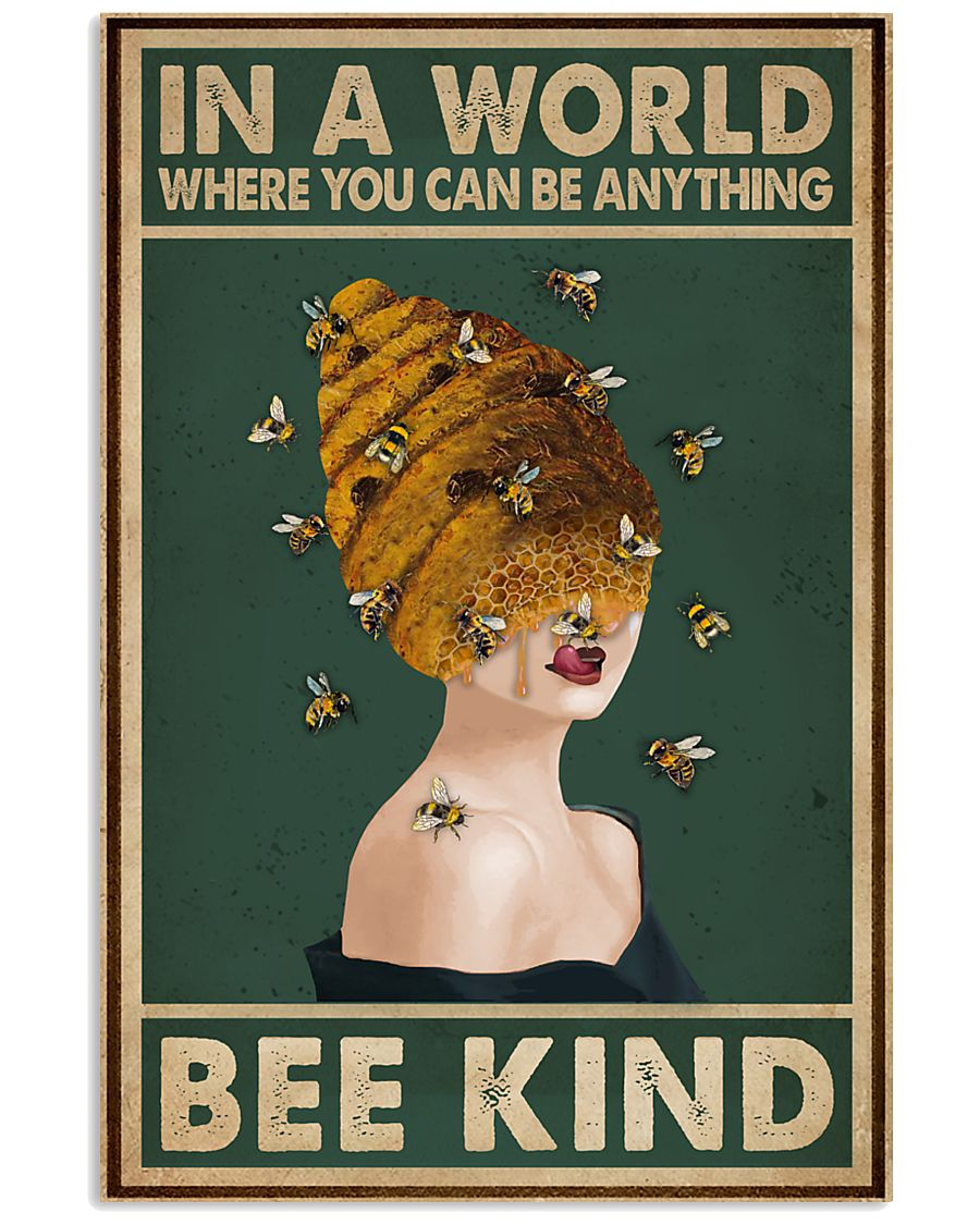 Retro Green Bee Kind Honey Bee Lady  11x17 Poster