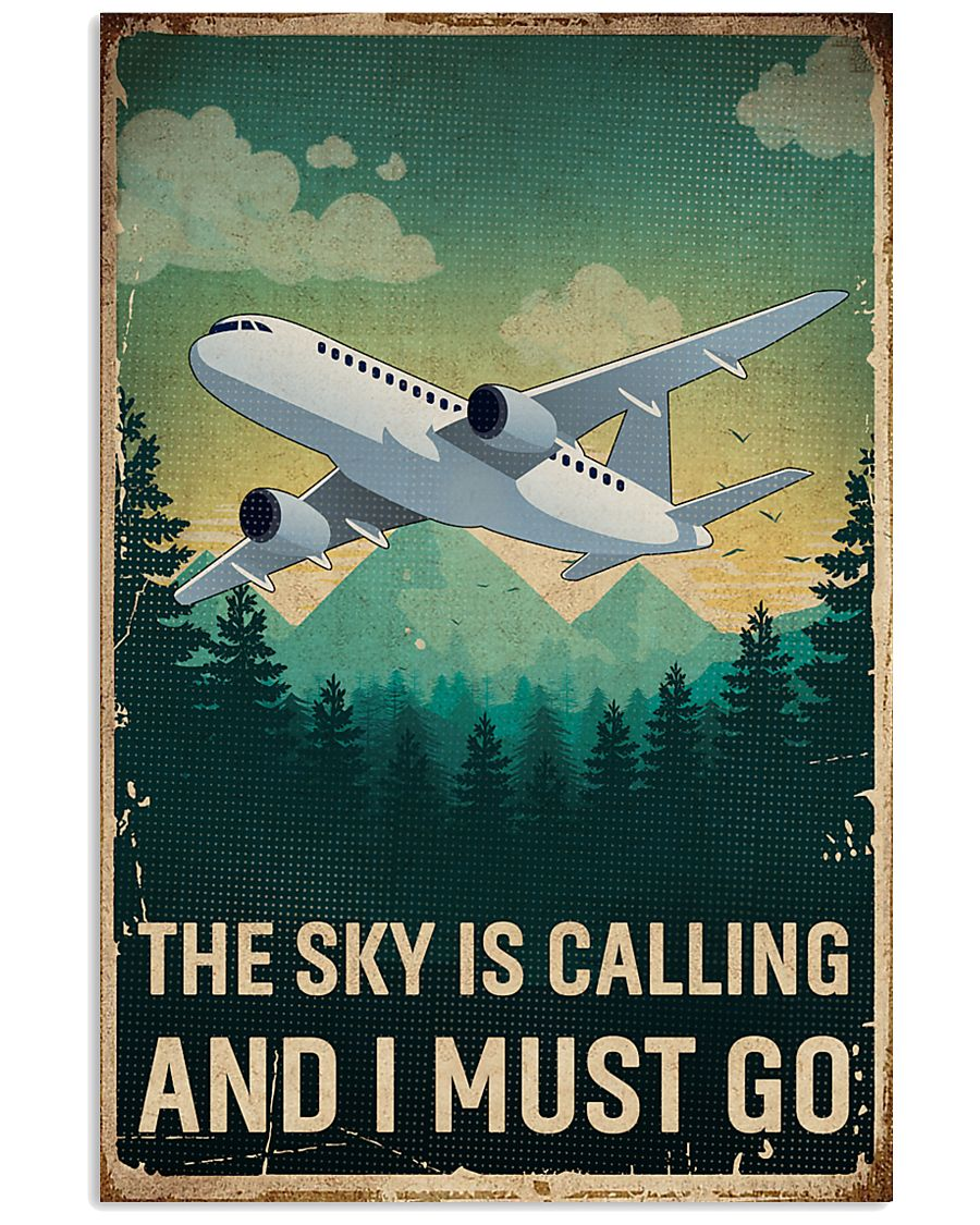 Retro Sky Is Calling Airplane 11x17 Poster