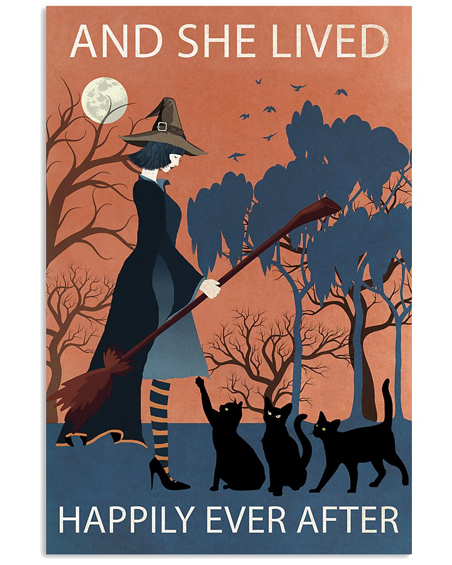 Vintage Girl Witch Lived Happily 11x17 Poster