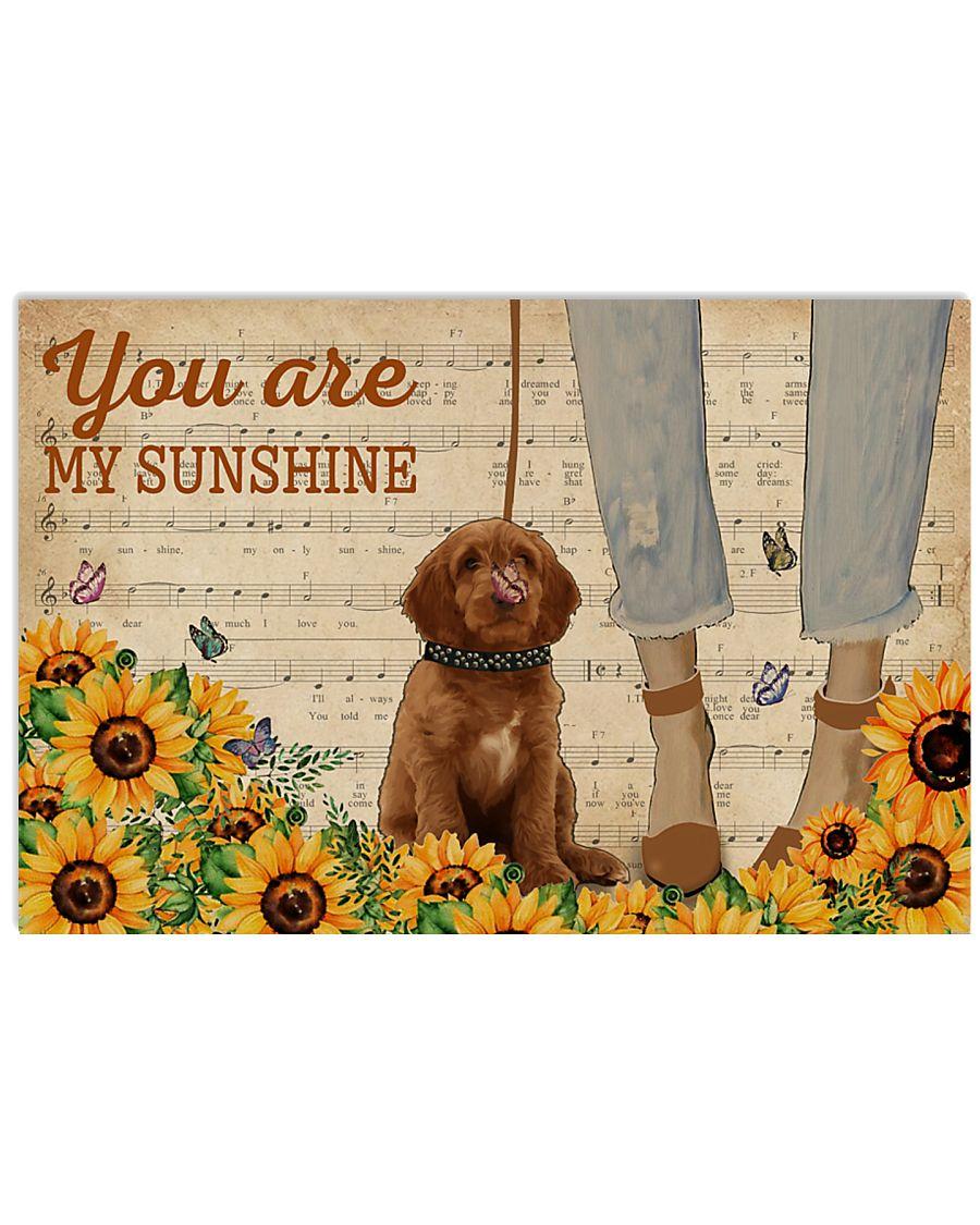 Vintage Sunflower Music Sheet Labradoodle 17x11 Poster