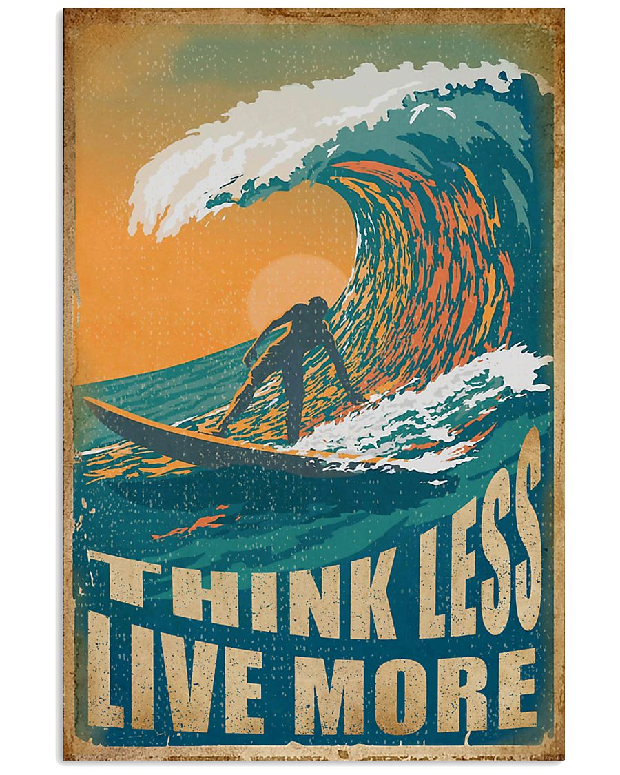 Retro Surfing Think Less Live More 11x17 Poster