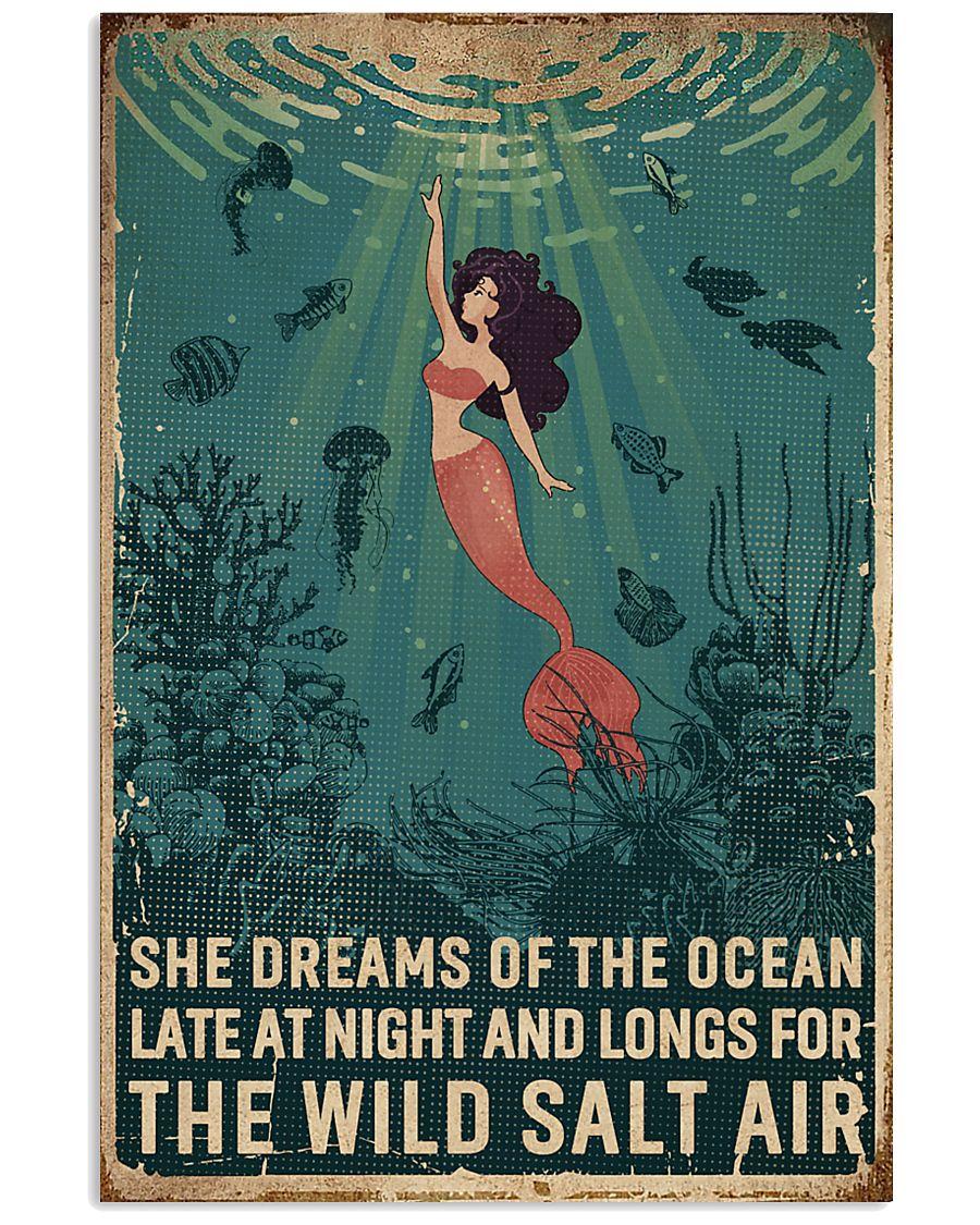 Retro She Dreams Of The Ocean Mermaid 11x17 Poster