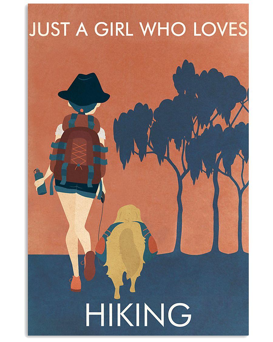 Vintage Orange Just A Girl Hiking 11x17 Poster