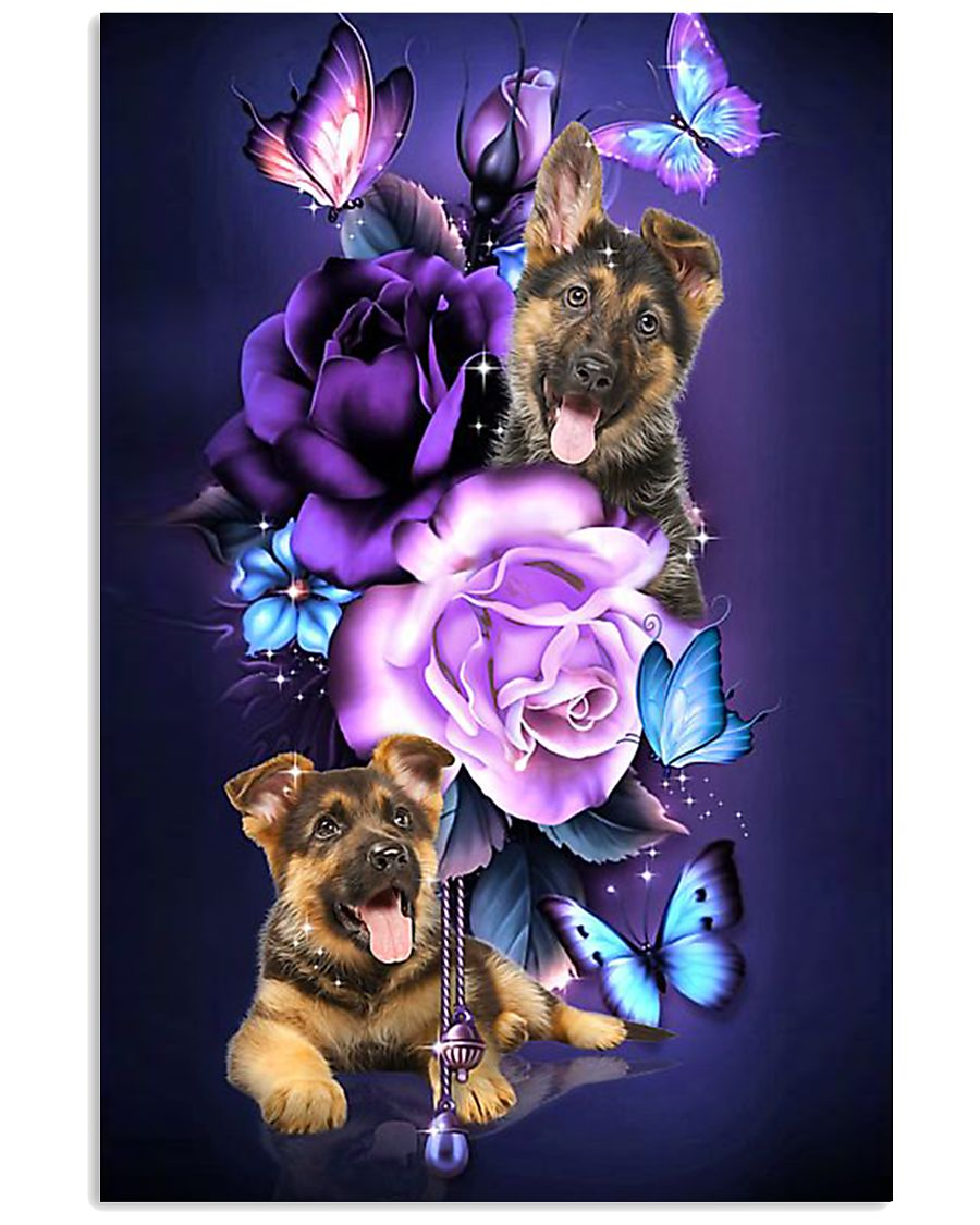 Magic Purple Rose German Shepherd 11x17 Poster