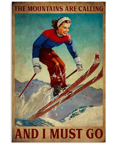 Retro The Mountains Are Calling Skiing Girl