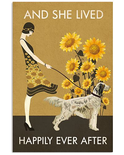 Sunflower Vintage Girl Happily English Setter