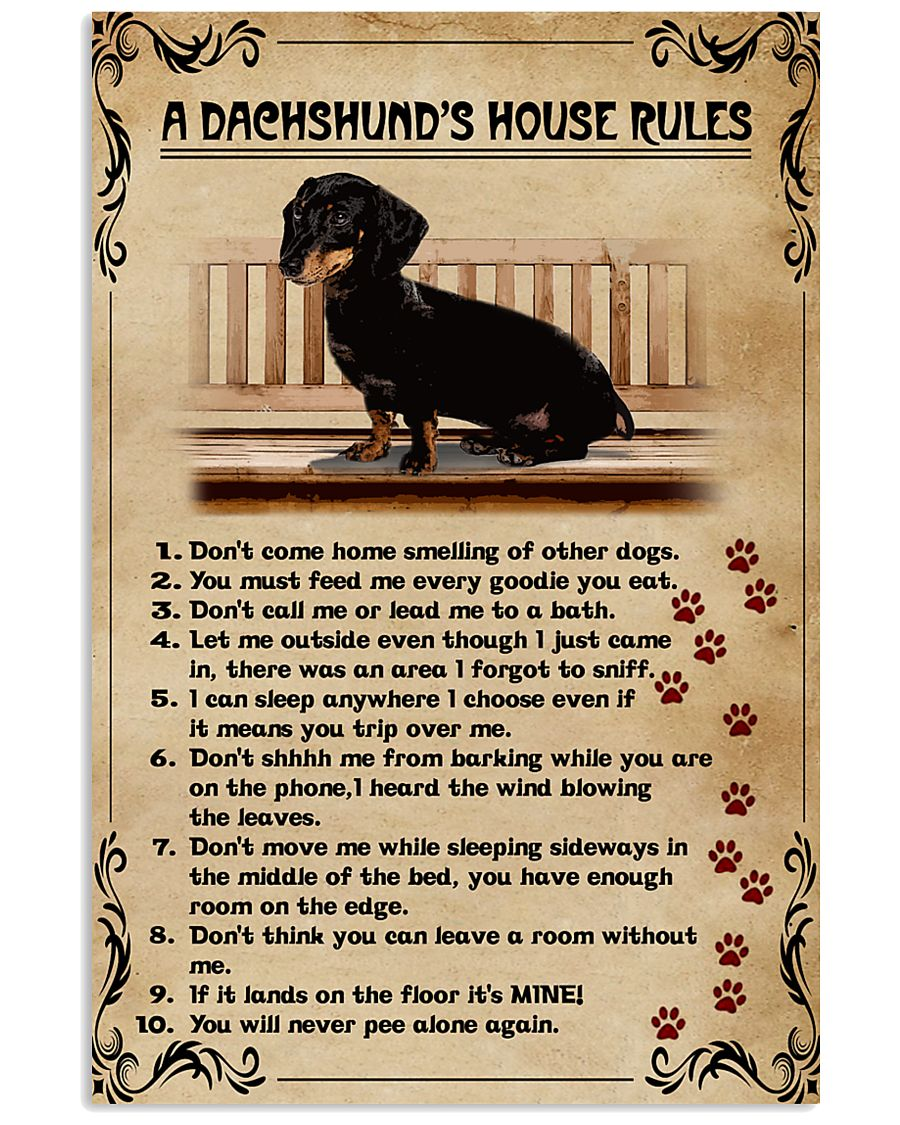 A Dachshund's House Rules Vintage 11x17 Poster