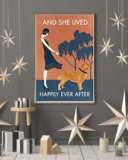 Vintage Girl She Lived Happily Golden Retriever 11x17 Poster lifestyle-holiday-poster-1