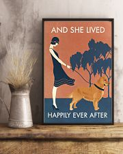 Vintage Girl She Lived Happily Golden Retriever 11x17 Poster lifestyle-poster-3