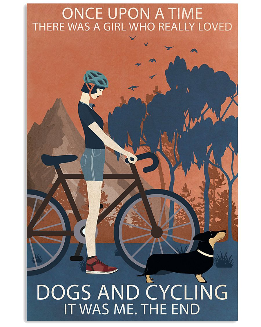 Vintage Once Upon A Time Dachshund And Cycling 11x17 Poster