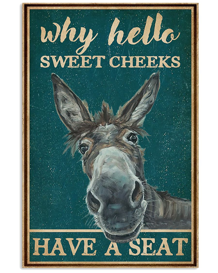 Retro Teal Why Hello Sweet Cheeks Donkey 16x24 Poster